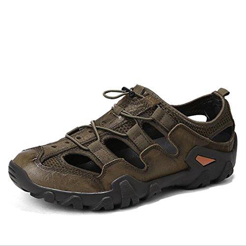 Cuero Nuevo Comodidad Brass 43 Al Aire Zapatos Zapatos Perezosos Sandalias Elásticas Y Y Verano Libre De Hombre Asalto Zapatos Playa QSYUAN Respirable Pies Antideslizante De gwXqIn6