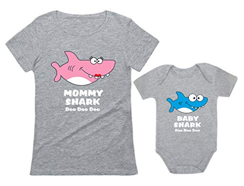 Baby Shark & Mommy Shark Doo Doo Doo T-Shirt Bodysuit Set for Mother and Baby Mommy Gray X-Large/Baby Gray 24M (18-24M)