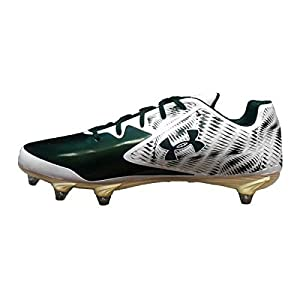 Under Armour Men's Team Nitro Low D Football Cleats (9.5, White/Green)