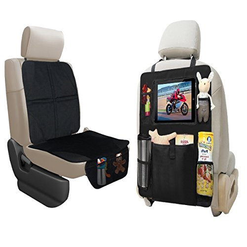 lebogner Car Seat Protector + Backseat Organizer with iPad and Tablet Holder, Durable Quality Seat Covers, 5 Pocket Storage Car Seat Back Organizer & Kick Mat Protector, Travel Accessories Organizer