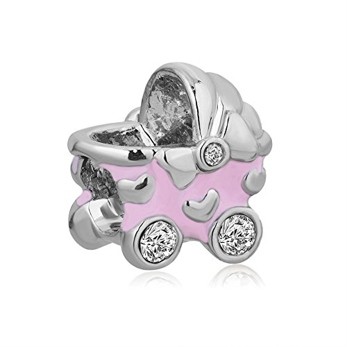 LovelyJewelry Heart Pink Baby CZ Synthetic Crystal Carriage Bead Charms For Mom For Bracelet ()