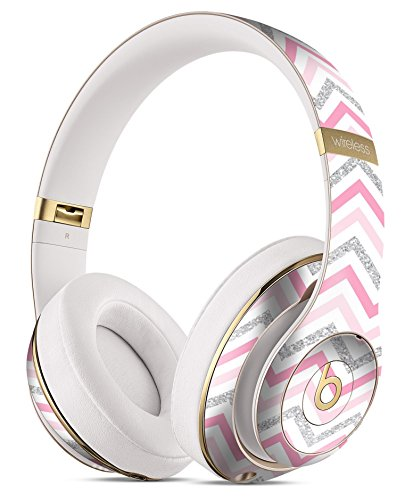 Shades of Pink Glitter Chevron DesignSkinz Full-Body Skin Kit for the Beats by Dre Studio Remastered Wireless Headphones / Ultra-Thin / Matte Finished / Protective Skin Wrap by iiRov
