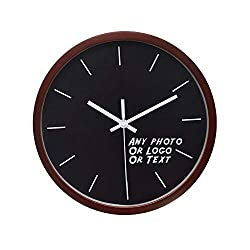 yujiasportshop Customized Products-12 Inch Custom Photo Wall Clock-Add Any Photo Free & Free USA Shipping (Dark Brown(The Wooden Frame), 12)