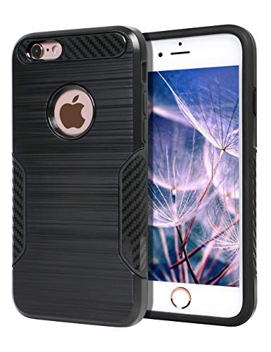 Fibre Grips - BECIKOO Case for iPhone 6s Case Dual Layer 2 in 1 Hard PC Soft TPU Shockproof iPhone 6s Case Carbon Fiber Grip Non-Slip Texture Design Protective Slim Cover for Apple iPhone 6s/6,4.7'',Black