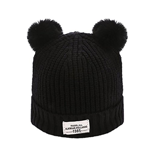 GBSELL Mom And Baby Winter Knitting Keep Warm Hat Sport Cap (Black 2017)
