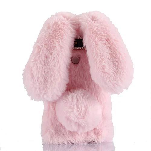 (Case for Galaxy S10 Plus, [Plush Rabbit Case] Rabbit Bunny Furry Fur Bling Crystal Rhinestone Warm Design Soft Rabbit Fur Hair Plush Case for Samsung Galaxy S10 Plus(Pink))