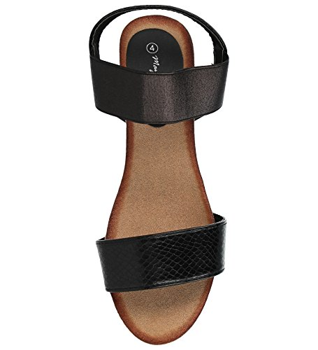 Size 8 Mid Sandals Toe Fashion Shoes Snake 3 Pu Back Leather Sling Ladies Black Snake Raffia PU Faux Wedge Peep Summer TqEZcxwBO