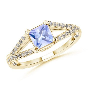 Ring Tanzanite Square (December Birthstone - Split Shank Square Tanzanite Ring for Women with Diamond Accents in 14K Yellow Gold (5mm Tanzanite))