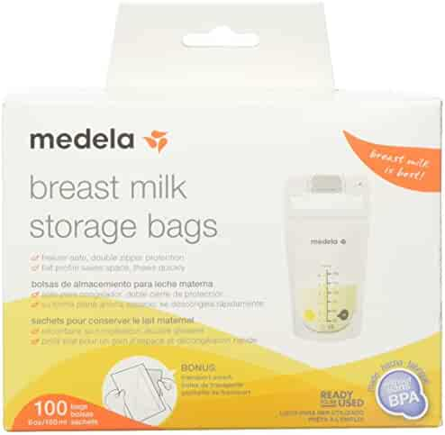 Medela Breast Milk Storage Bags, 100 Count Ready to Use Milk Storage Bags for Breastfeeding, Self Standing, Flat Profile Space Saving Storage for Breastmilk