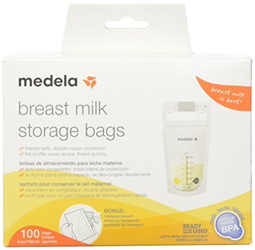Medela, Breast Milk Storage Bags, Ready to Use, Milk Storage Bags for Breastfeeding, Self-Standing Bag, Space-Saving Flat Profile, Hygienically Pre-Sealed, 6 oz. Capacity, 100 Count