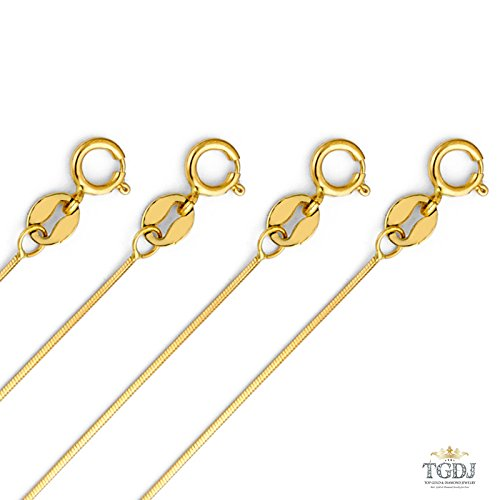 14k Yellow Gold SOLID 0.7mm Cut Snake Chain with Spring Clasp - /16/18/20/22'' (16 Inches) by Top Gold & Diamond Jewelry