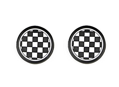 iJDMTOY (2 73mm Checker Pattern Silicone Cup Holder Coasters for Mini Cooper R55 R56 R57 R58 R59 Front Cup Holders, Black/White Checkerboard Design