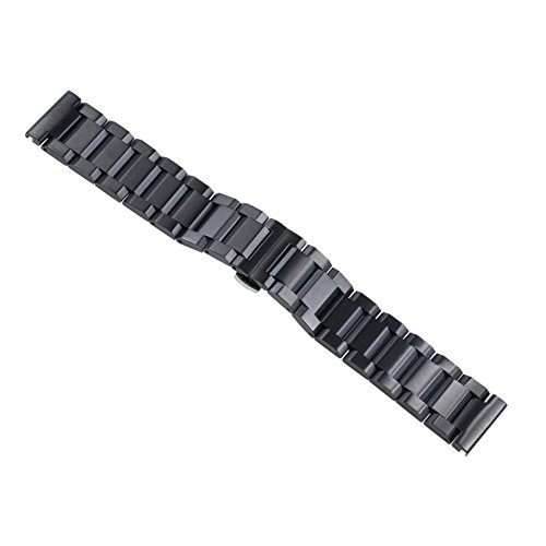 22mm Men's Deluxe Robust Black Solid Inox Watch Wristbands for Swiss Watches Metal Stainless Steel Straight End