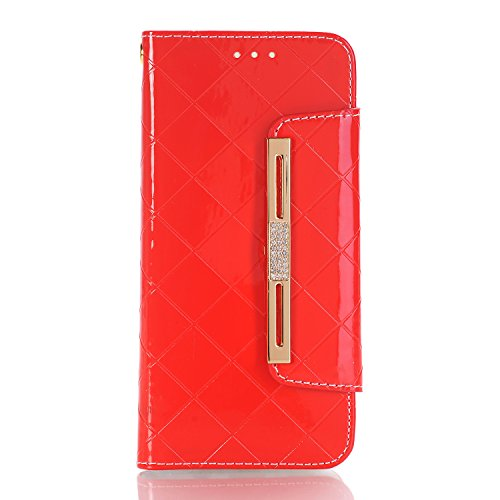 Samsung Galaxy S8 Case for Women,Stylish Cute Women/Girls Wallet Case with Wrist Strap, YiMiky PU Leather Flip Card Holder Shockproof Protective Case for Samsung Galaxy S8 2017-Red by YiMiky