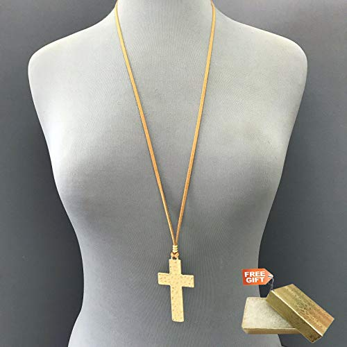 - Long Brown Faux Leather Matte Gold Finish Hammered Cross Shape Pendant Necklace Set For Women + Gold Cotton Filled Gift Box for Free