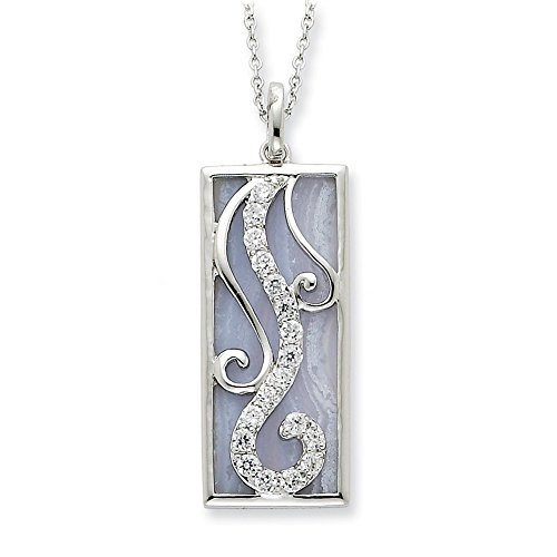 Rhodium Plated Sterling Silver, Blue Lace Agate & CZ Living Water Necklace, 18 Inch
