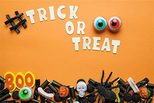Yeele 8x6ft Trick or Treat Backdrop Prank Toys Spider Ghost Head Photography Background Friends Kids Adult Acting Show Halloween Party Decoration Banner Photoshoot Studio -
