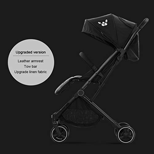 ☝YEC Baby Stroller, Ultra Light and High Landscape Folding Children's Pocket Umbrella Pram (Color : Black)