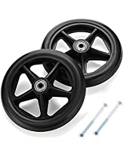 2 Pieces Wheelchair Front Caster - Walker Wheels with Screws - Heavy Duty Rubber Sport Wheel, Standard Replacement 6 7 8inch Healthcare Caster, Heavy Duty (Color : Black, Size : 6inch/15cm)