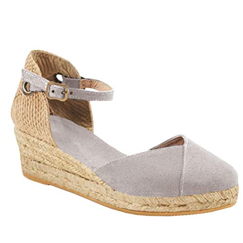6d8a89ad649fe Nailyhome Womens Espadrille Platform Closed Toe Sandals Ankle Straps with  Slingback Wedge Sandals