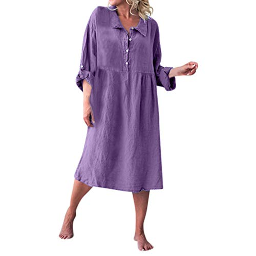 Sunmoot Clearance Sale Womens Linen Cute Shirt Dress,Ladies Solid Basic Casual Buttoned Lapels Daily Smock Dress Purple