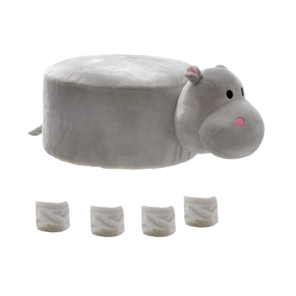 MagiDeal Cute Animal Design Round Chair Stool Cover Set 29-30cm / 12-inch - Hippo