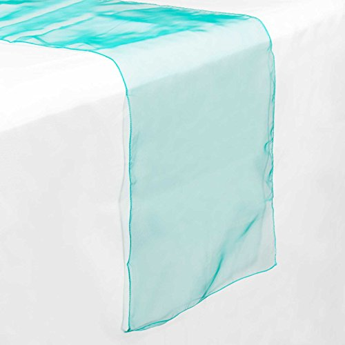 Lann's Linens 14 x 108 inch Organza Table Runner Wedding Banquet Party Decoration - Pack of 5 - Turquoise
