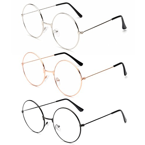 3Pairs Unisex Retro Round Eyeglasses 3 Different Color Circle Metal Frame Clear Lens Glasses for Women - Circle Glasses Cute