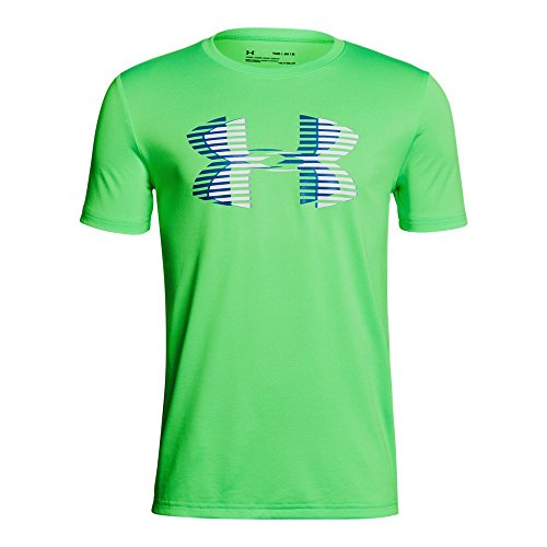 Boys Youth T-shirt - Under Armour Boys' Tech Big Logo Solid T-Shirt, Arena Green (701)/Moroccan Blue, Youth Medium