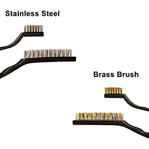 Turboom Wire Brush Set Scratch Brush Set for Cleaning Welding Slag Rust and Dust Curved Handle Stainless Steel and Brass Black 10-Pack