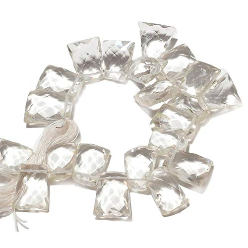 Super Quality Gemstone Beautiful Jewelry Faceted Crystal Bead, Briolette Beads, Quartz Crystal Fancy Bead, Fancy Shape, 14mm Each, 7 Inch Strand Code-JP-3860   B07KVWX8YK