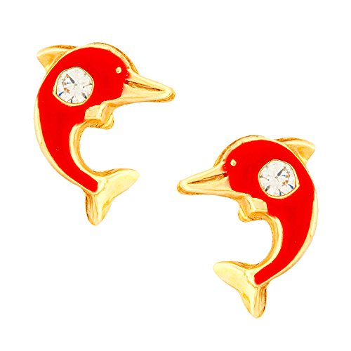 14K Yellow Gold Cubic Zirconia Enameled Dolphin Stud Kids Earrings With Safety Screw Backs (Red)