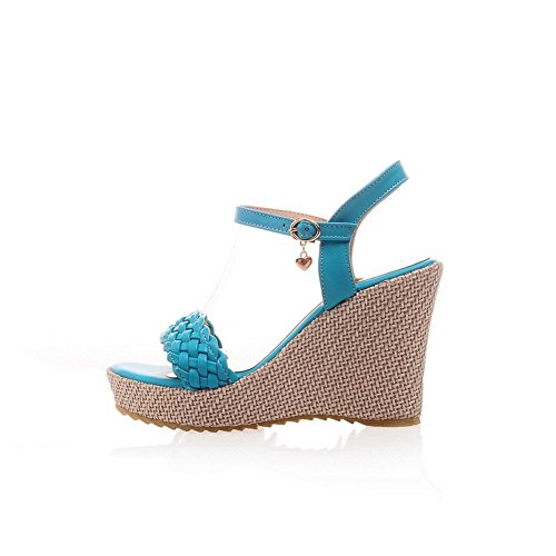 BalaMasa Ladies Cross Weaving Open-Toe Soft Material Sandals Blue eLNQUXy