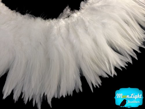 Moonlight Feather | 4 Inch Strip - Natural White Strung Chinese Rooster Saddles Feathers Costume Craft Supply (String Moonlight)