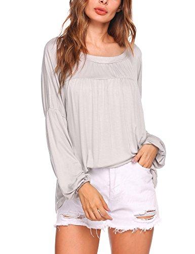 Beyove Women's Casual Long Sleeve Drop Waist Tunic Top For Pregnant,Gray,S - Drop Waist Peasant Top