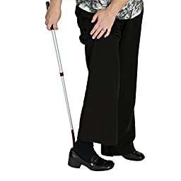 HealthSmart Long Handled No Bend Telescopic Adjustable Shoe Horn, Silver