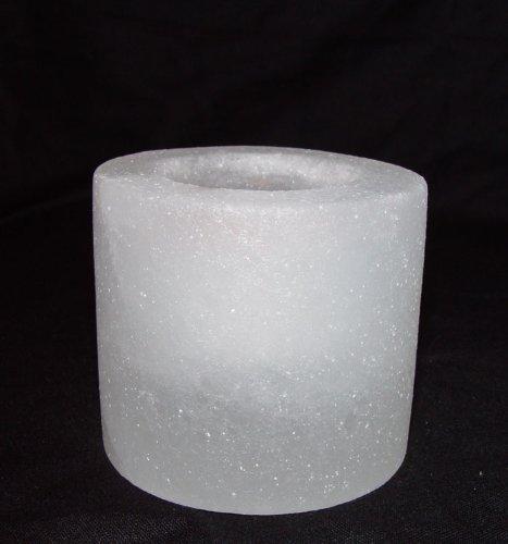 White Salt Candle Holder Cylinder and Pillar Shape Unique and Rare Salt Crystal