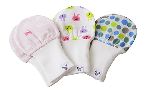 Layer Mitten (Baby Girl Mittens, Fits Age 6 - 12 Months, 3 Pack, Dots, Bows, and Bunny)