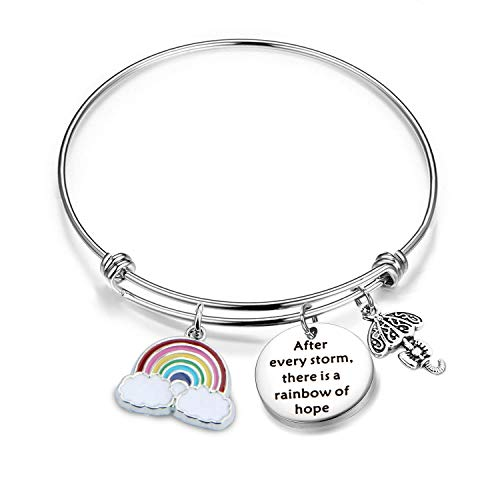 Inspirational Bracelet Encouragement Gift After Every Storm There is A Rainbow of Hope Rainbow Charm Bracelet Memorial Jewelry Gift for Her (Rainbow Bracelet)