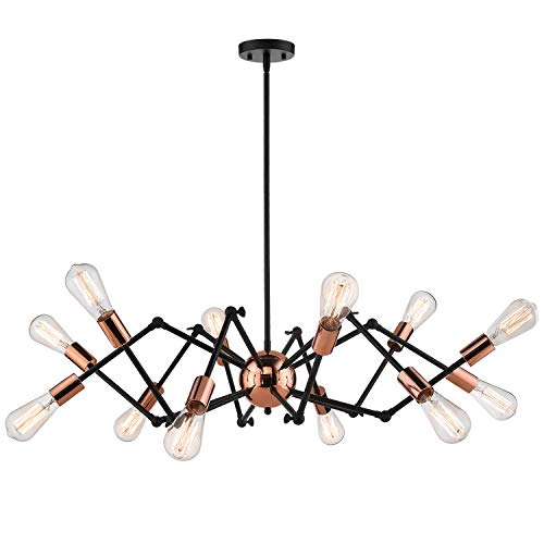 Jazava Industrial Sputnik Chandelier, 12-Lights Modern Pendant Light for Farmhouse, Hanging Light Fixture, Adjustable Swing Arms, Black and Rose Gold Finish (Chandelier Rose Pendant)