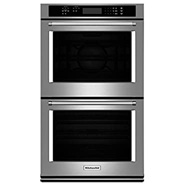 """KITCHENAID KODE300ESS 30"""" Double Electric Wall Oven with 10.0 cu. ft. Combined Oven Capacity, Even-Heat True Convection, Glass Touch Display, Temperature Probe and Self Cleaning Cycle"""