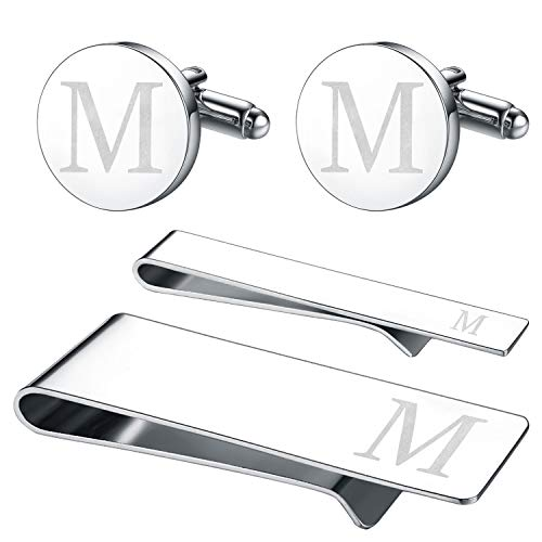 (BodyJ4You 4PC Cufflinks Tie Bar Money Clip Button Shirt Personalized Initials Letter M Gift Set)