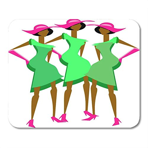 Emvency Mouse Pads Black Alpha Three Sassy Ladies in Coordinating Dresses Mouse Pad for notebooks, Desktop Computers mats 9.5