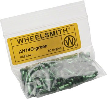 Wheelsmith 2.0 x 12mm Green Alloy Nipples, Bag of 50 by Wheelsmith (Image #1)