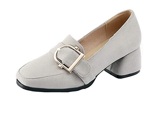 De Gris Medio Mujeres Hebilla Tacón Gmxdb006942 Tacón Con Esmerilado Zapatos Sólido Agoolar 8Sxfwgq8