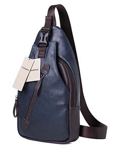 Genbagbar Large Leather Cross Body Chest Bag Shoulder Backpack Travel Rucksack Sling Bag (Large, Navy) - Navy Sling