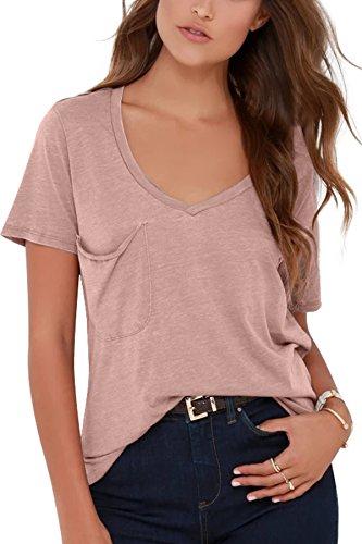 JL&LJ Womens T-Shirt Casual V Neck T-Shirt Short Loose Blouse Tops with Pocket(Pink-M)
