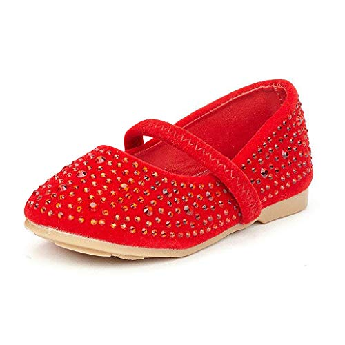 DREAM PAIRS MUY-Shine-INF Mary Jane Girls Rhinestone Studded Slip On Ballet Flats Toddler New Red Size -