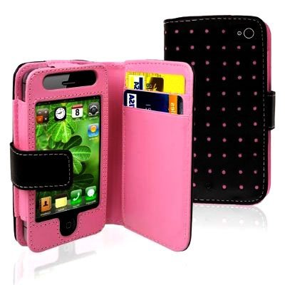 4g Case Pouch - Importer520 Hot Pink Dot Flip PU Leather Card Holder Wallet Case Cover Pouch For iPhone 4 4S 4G