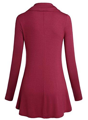 BAISHENGGT-Top Camiseta para Mujer de Punto Estilo Holgado Purpura-Rojo